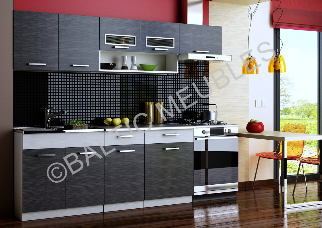 cuisine en kit noir. Black Bedroom Furniture Sets. Home Design Ideas
